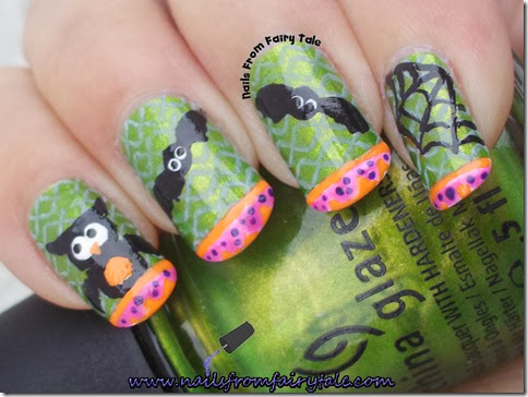 china glaze cha cha cha with owl bats and web 5