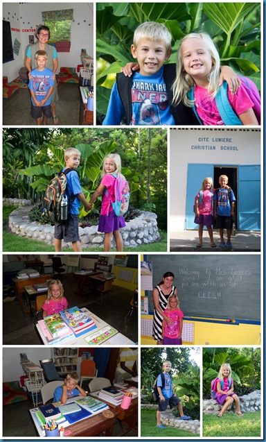 Drew and Tessa's 1st Day of School Aug 2013