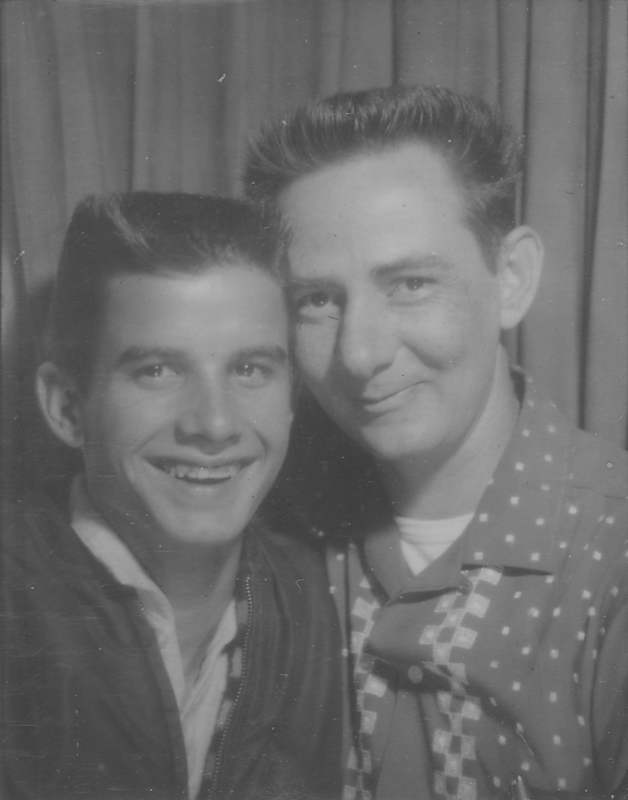 """Butch"" Wagner (left) and Edgar Sandifer in a photo booth. Undated."