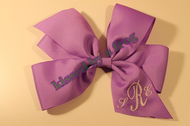kissed by a frog monogram bow 1