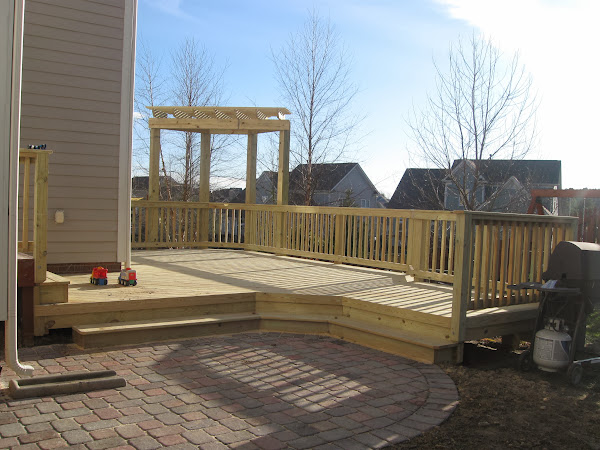 Paver Patio With Deck Wide Steps Decks And Patios