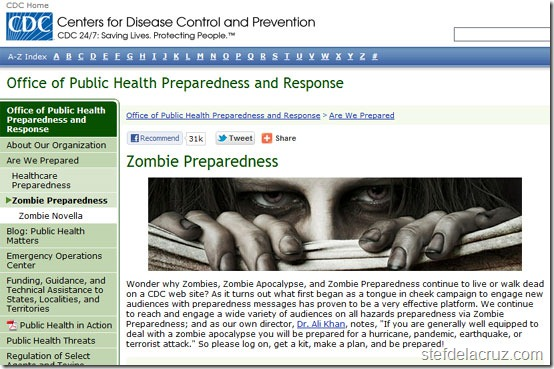 CDC zombie page