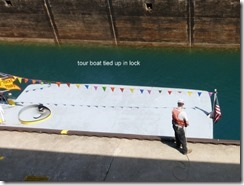 tour boat tied up in lock