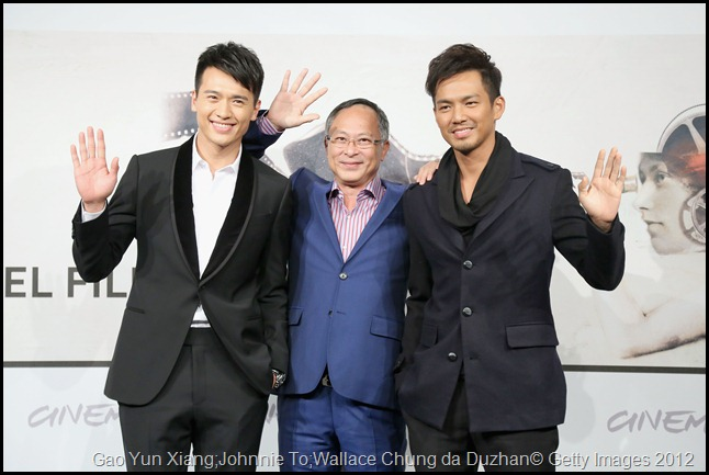 ROME, ITALY - NOVEMBER 15:  (L-R) Actor Gao Yun Xiang, director Johnnie To and actor Wallace Chung attend the 'Drug War' Photocall during the 7th Rome Film Festival at the Auditorium Parco Della Musica on November 15, 2012 in Rome, Italy.  (Photo by Ernesto Ruscio/Getty Images)