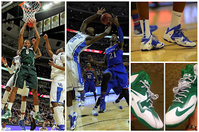 wearing brons michigan lebron11 white green 00 Duke, Michigan & Kentucky Showcase Nike LeBron XI PEs