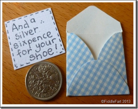 Old New Borrowed and Blue Silver Sixpence Card.1