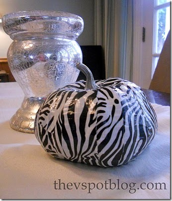 friday feature--black and white zebra duct tape pumpkin from v spot blog