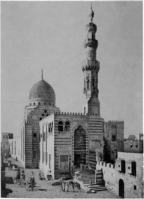 Religious-funerary complex of Qaitbay, 15th century. At this point Cairo architectural programs were guided by interest in fundamental Mamluke architectural forms. Balance was conferred on an angular, seemingly asymmetrical complex by details such as the intncate carvings on the minaret and dome.