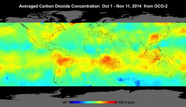 Global atmospheric carbon dioxide concentrations from 1 October 2014 through 11 November 2014, as recorded by NASA's Orbiting Carbon Observatory-2. Graphic: NASA / JPL-Caltech