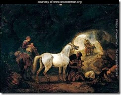 A-man-staddling-a-white-horse-in-cave