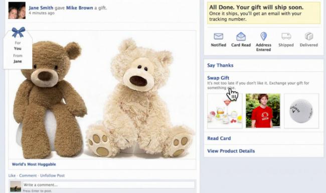 facebook gift presente aplicativo