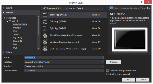 Create HelloWorld Windows Store app in Visual Studio 2012