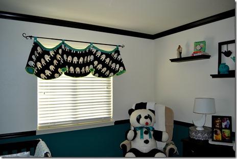 Black white teal nursery