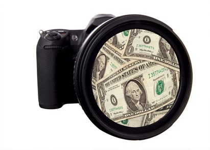 Digital DSLR Camera with money