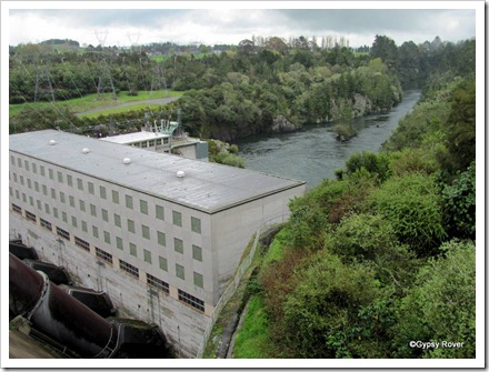 Looking down from the top of the dam onto the Whakamaru power station.