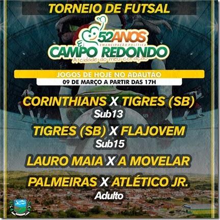 Futsal - 53 anos Campo Redondo - emancipação - corinthians - tigres - futsal - lauromaia - amovelar - palmeiras - atletico junior - wcinco - wesportes
