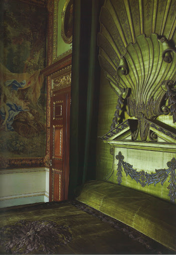 The Green Velvet Bedchamber at Houghton Hall. This bed was designed by William Kent with an enormous shell inspired by Venus' chariot.
