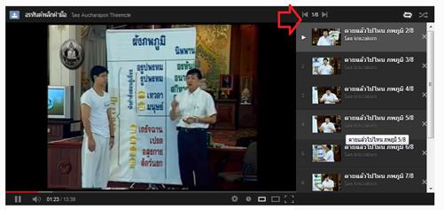 รูปที่ 1 วีดีโอเพลย์ลิสต์ในเวบไซต์ยูทูป
