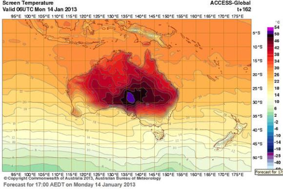 Australia Bureau of Meteorology forecast for 17:00 AEDT on Monday, 14 January 2013. The Bureau of Meteorology's interactive weather forecasting chart has added new colours – deep purple and pink – to extend its previous temperature range that had been capped at 50 degrees C. Graphic: BOM