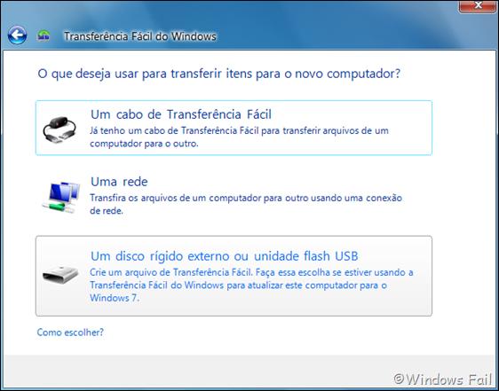 O que deseja usar para transferir itens para o novo computador