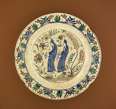 Plate Northwestern Iran, probably Kubachi Plate, 17th century Ceramic; Vessel, Fritware, underglaze painted, 2 1/2 x 13 3/8 in. (6.35 x 33.97 cm) The Nasli M. Heeramaneck Collection, gift of Joan Palevsky (M.73.5.244) Art of the Middle East: Islamic Department.