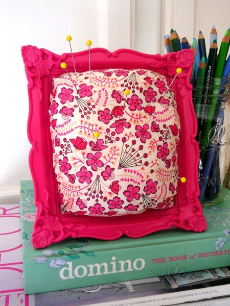 diy framed pincushion