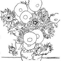 Los Girasoles de Vang Gogh. Dibujo