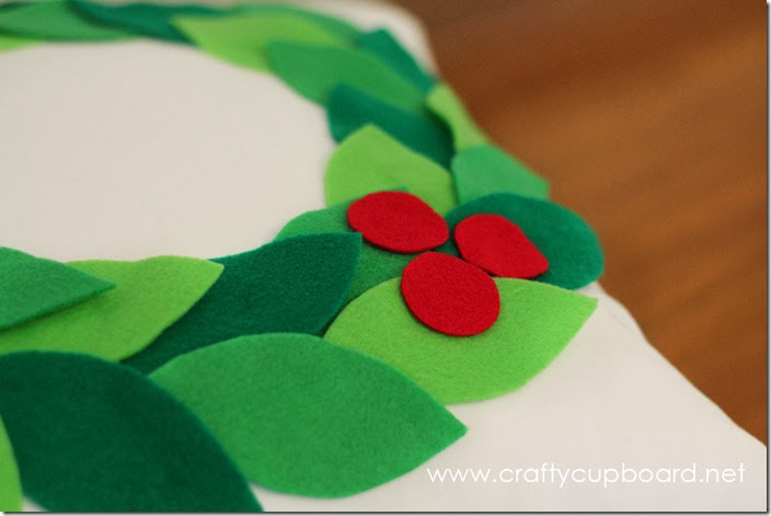 Holly Wreath Pillow with Berries