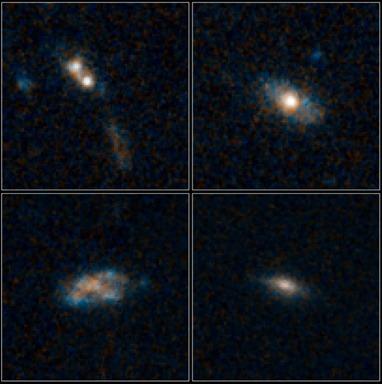 quatro galáxias e seus quasares distantes e obscuros