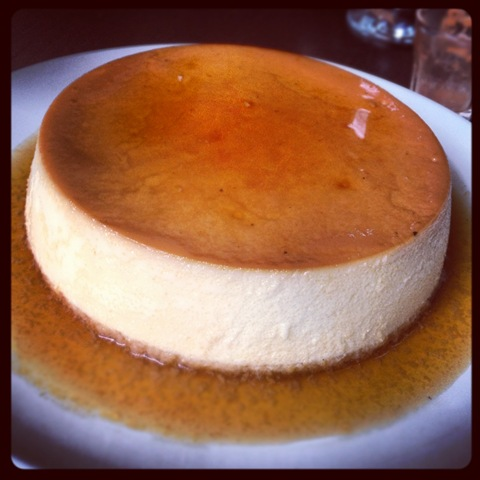 Flan with coconut and caramel sauce