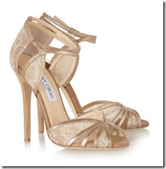 Jimmy Choo Lace and Glitter Finish Sandals