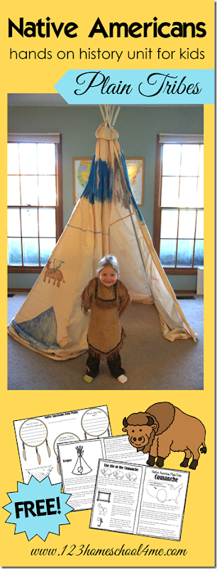 Native Americans - A hands on history unit of North American Indians from the Plains. Includes printable mini book, tribe comparisson, and ideas for hands on learning about history for preschool, kindergarten, homeschool, and more.