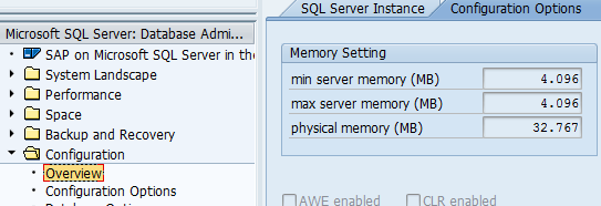 SAP ST04 SQL Server memory settings