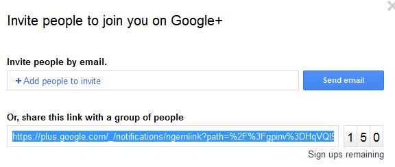 Google+ invites URL