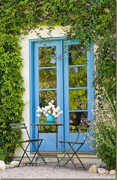 blue ivy clad french doors