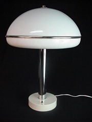 Modern table lamp with plastic shade