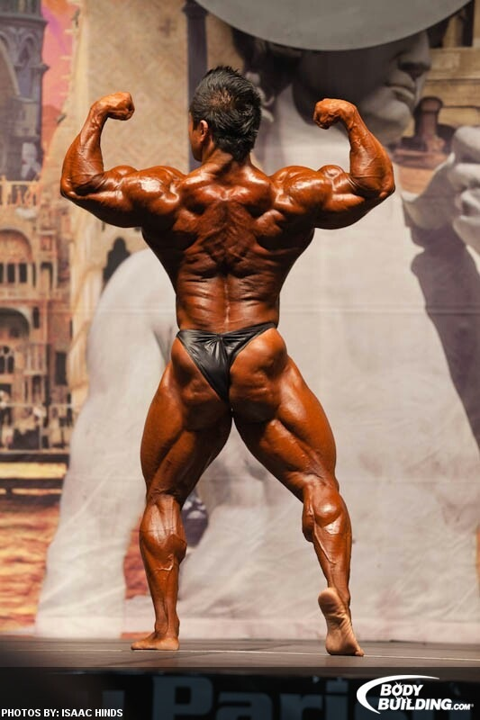 Hidetada Yamagishi back double biceps pose