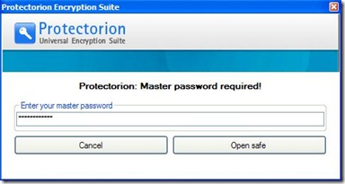 Protectorion ToGo digitare password di accesso