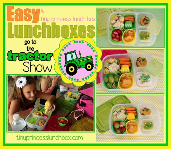 EasyLunchboxes and tiny princess lunch box go to the tractor show! #tractorlunch #EasyLunchboxes #schoollunchideas