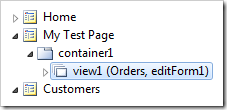 New view created in container1 of My Test Page.