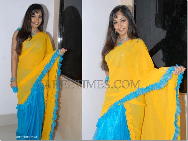 Madhavi_Latha_Yellow_Blue_Saree
