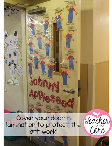 Lamination Trick! Cover your door. The art wont get snagged and torn by little legs, hands, or backpacks!