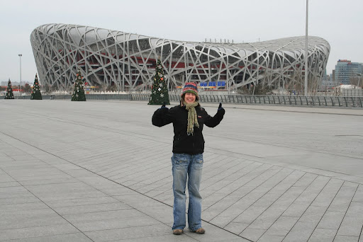 Lynette outside the famous Birds Nest stadium!