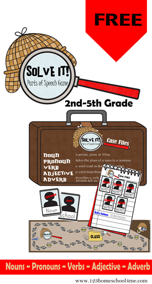 Solve It! Parts of Speach Game for Elementary Students #education #homeschool #languagearts