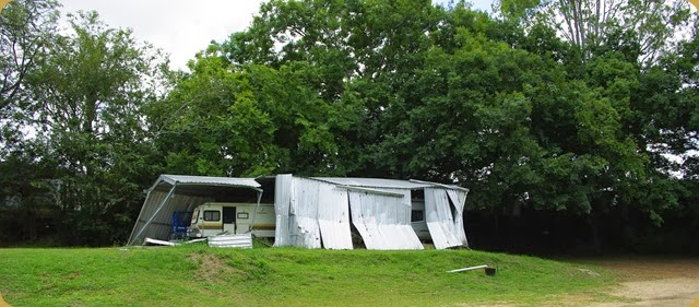 Flood damaged shed at Esk Caravan Park Oct 2013