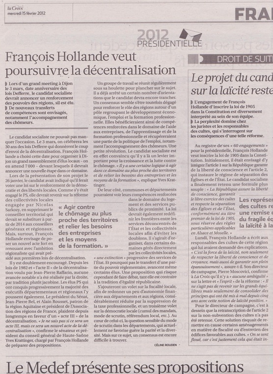 decentralizacion François Hollande
