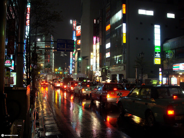 beautiful night shot in shinjuku during a drizzle in Shinjuku, Tokyo, Japan