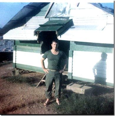 Russ outside his hooch 1-13 Da Nang 1969
