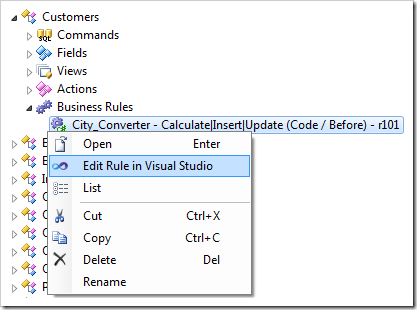 Edit Rule in Visual Studio context menu option for a business rule in Code On Time web application generator.