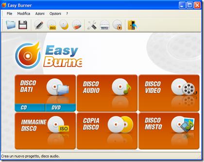 Easy Burner selezione metodo di scrittura